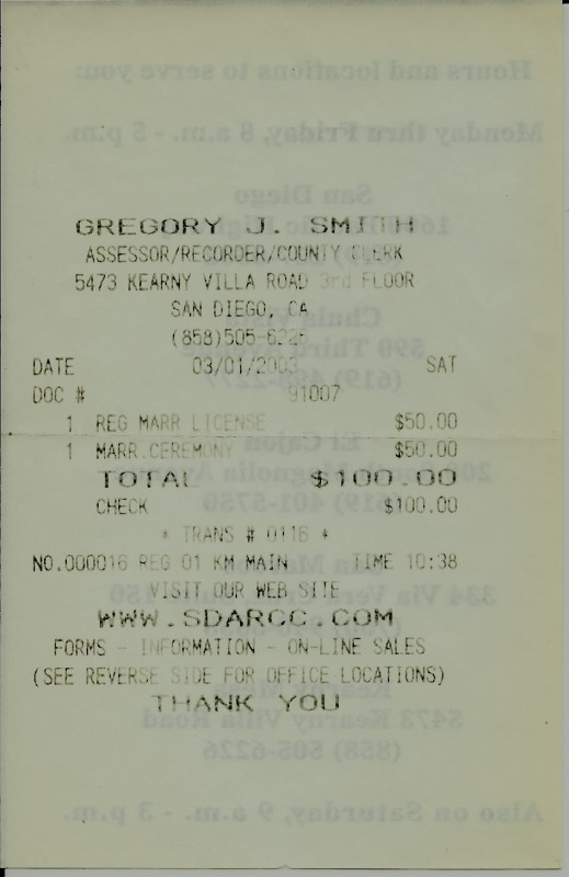 2003 Receipt of Marriage